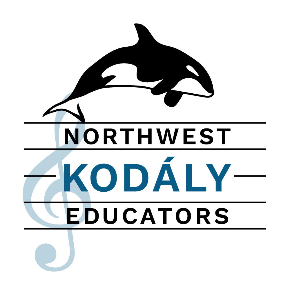"The NWKE Logo, which includes the text ""NORTHWEST KODÁLY EDUCATORS"" on a musical staff with an orca whale above the staff"